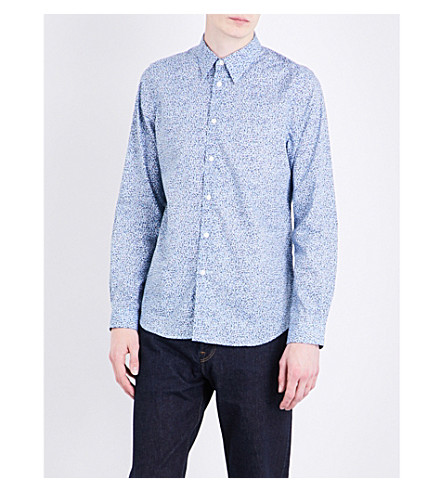 PS BY PAUL SMITH Dot-print slim-fit cotton shirt (Blue+multi