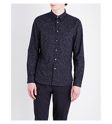 PS BY PAUL SMITH Constellation-print tailored-fit cotton shirt (Navy