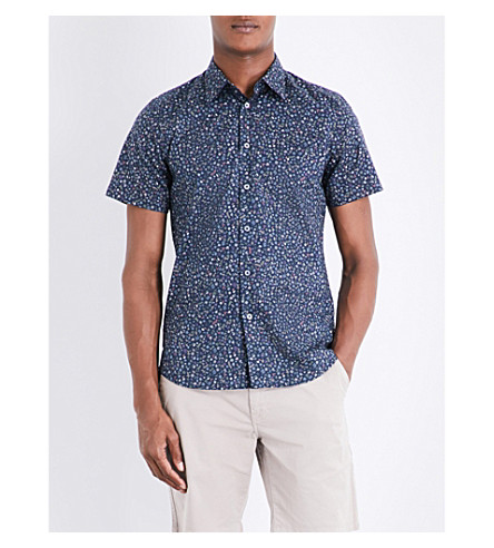 PS BY PAUL SMITH Floral-patterned tailored-fit cotton shirt (Navy