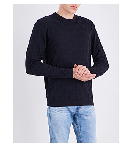 PS BY PAUL SMITH Circle jacquard-knitted cotton sweater (Navy