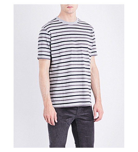 PS BY PAUL SMITH Striped cotton-blend T-shirt (Grey