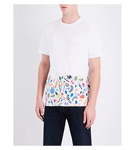 PS BY PAUL SMITH Floral block-print cotton-jersey T-shirt (White