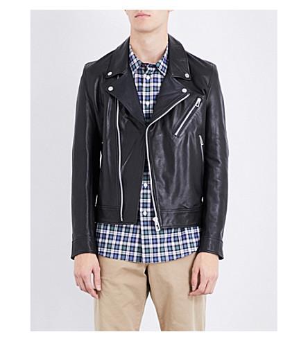 PS BY PAUL SMITH Moto leather biker jacket (Black