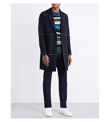 PS BY PAUL SMITH Rainbow check wool-blend overcoat (Navy