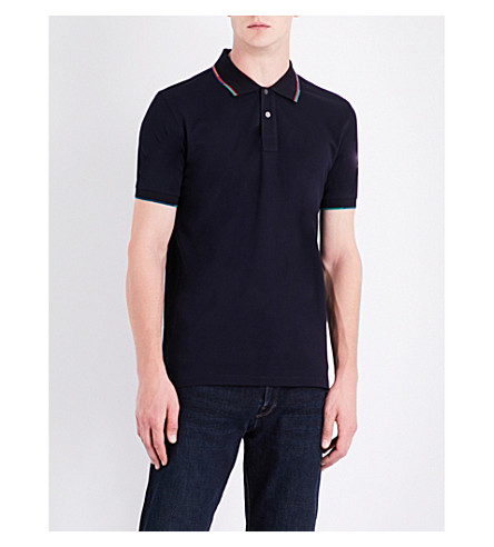 PS BY PAUL SMITH Tipped cotton-pique polo shirt (Navy