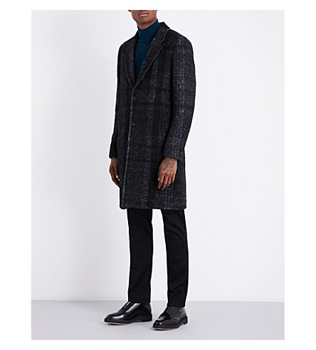PS BY PAUL SMITH Checked regular-fit wool-blend coat (Grey