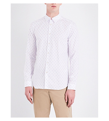 PS BY PAUL SMITH Slim-fit geometric-print cotton shirt (White