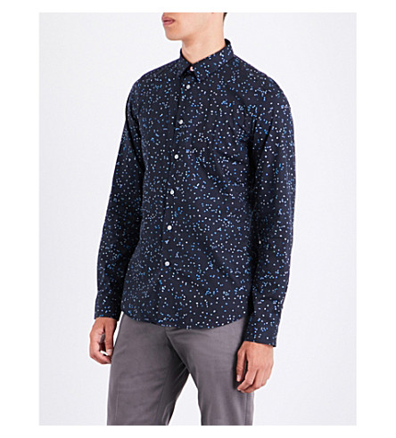 PS BY PAUL SMITH Puzzle-print slim-fit cotton shirt (Navy