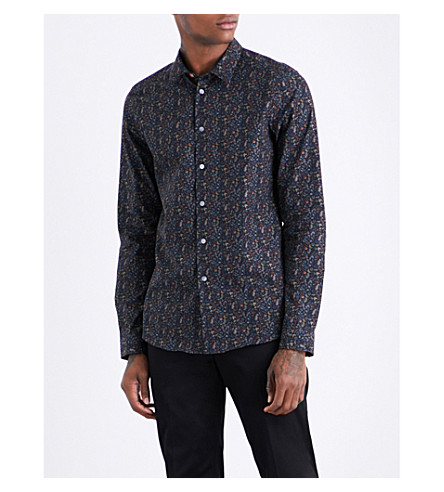 PS BY PAUL SMITH Botanical-pattern slim-fit cotton shirt (Black