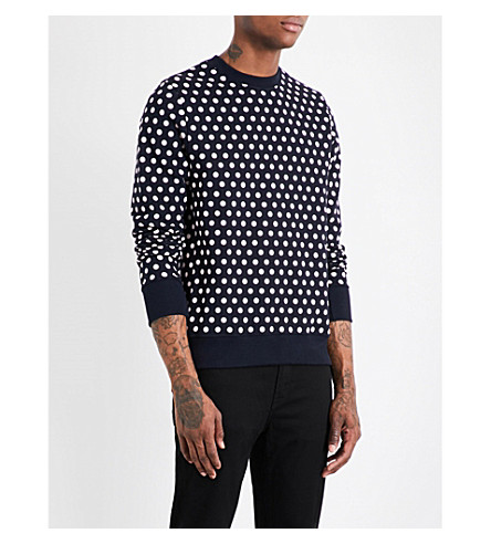 PS BY PAUL SMITH Star-print cotton-jersey sweatshirt (Navy