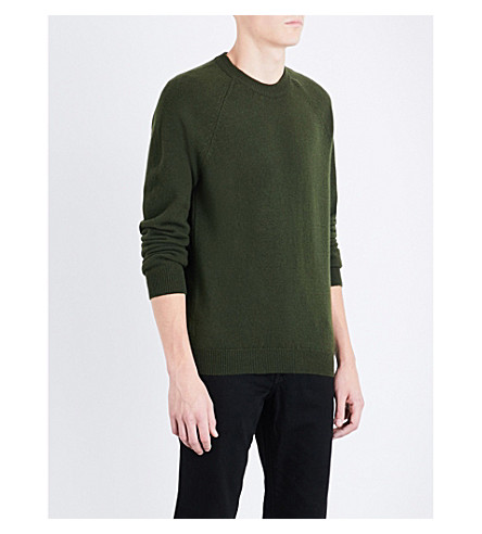 PS BY PAUL SMITH Logo-embroidered merino wool jumper (Army