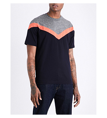 PS BY PAUL SMITH Chevron-print cotton-jersey T-shirt (Navy