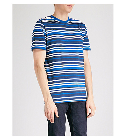 PS BY PAUL SMITH Striped cotton-jersey T-shirt (Navy