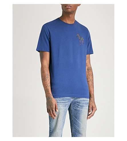 PS BY PAUL SMITH Zebra-print cotton-jersey T-shirt (Blue