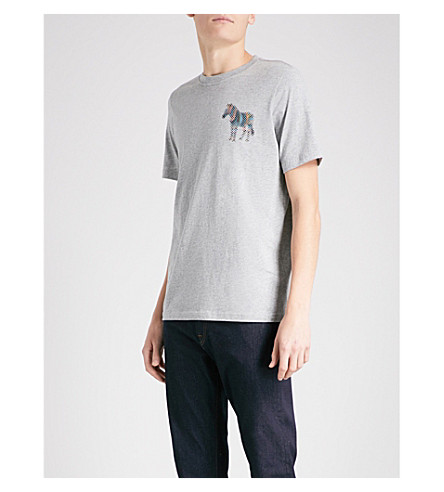 PS BY PAUL SMITH Zebra-print cotton-jersey T-shirt (Grey