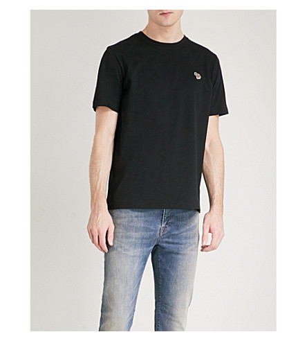 PS BY PAUL SMITH Zebra-appliqué cotton-jersey T-shirt (Black