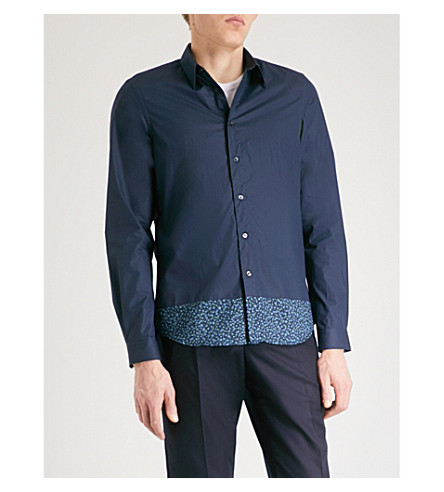 PS BY PAUL SMITH Floral-hem tailored-fit cotton shirt (Navy