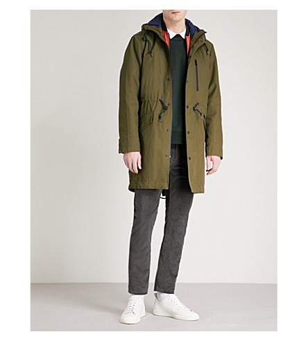 PS BY PAUL SMITH 2-in-1 fishtail-hem cotton-blend parka coat (Olive