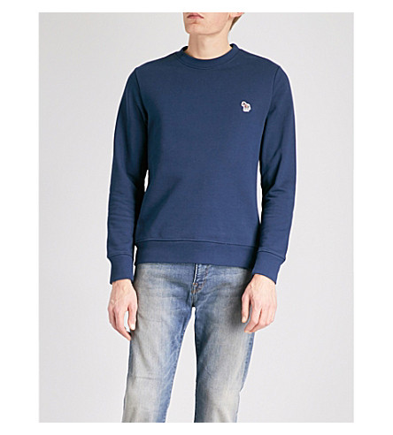 PS BY PAUL SMITH Zebra-embroidered cotton-jersey sweatshirt (Blue