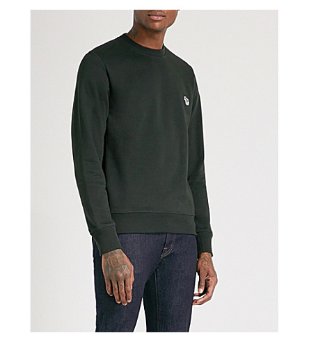 PS BY PAUL SMITH Zebra-embroidered cotton-jersey sweatshirt (Green