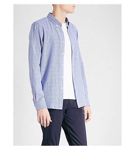 PS BY PAUL SMITH Houndstooth tailored-fit cotton shirt (Blue