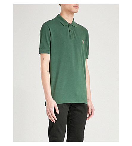 PS BY PAUL SMITH Zebra-embroidered cotton-piqué polo shirt (Green