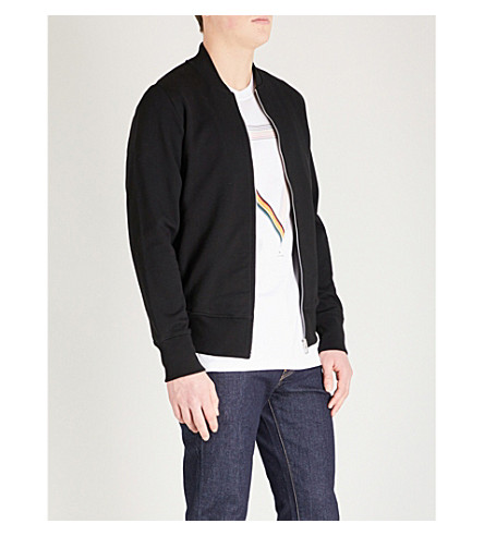 PS BY PAUL SMITH Zip-up cotton-jersey jacket (Black