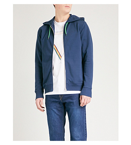 PS BY PAUL SMITH Zip-up cotton-jersey hoody (Blue