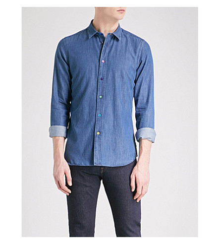 PS BY PAUL SMITH Multi-coloured buttons denim shirt (Blue
