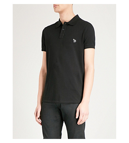 PS BY PAUL SMITH Zebra-embroidered cotton-pique polo shirt (Black