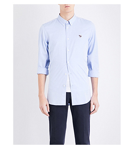 PS BY PAUL SMITH Zebra-motif tailored-fit cotton shirt (Blue