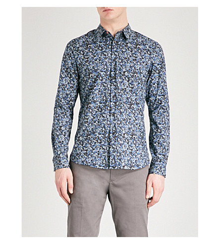 PS BY PAUL SMITH Tailored-fit camo-print cotton shirt (Navy