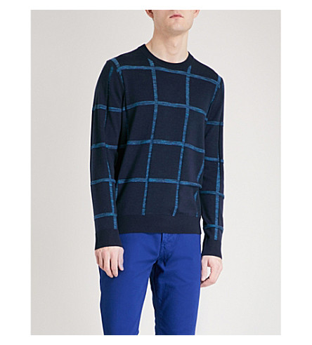PS BY PAUL SMITH Checked wool and cotton-blend jumper (Blue