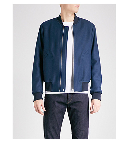 PS BY PAUL SMITH Textured wool-blend bomber jacket (Blue