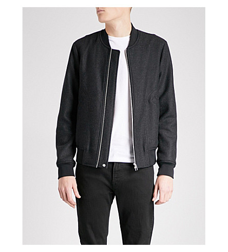 PS BY PAUL SMITH Textured wool-blend bomber jacket (Grey