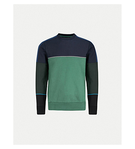 PS BY PAUL SMITH Contrast-panel cotton-jersey sweatshirt (Green