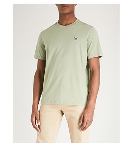 PS BY PAUL SMITH Zebra-print cotton-jersey T-shirt (Pistaccio
