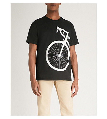 PS BY PAUL SMITH Bicycle-print cotton-jersey T-shirt (Black+white