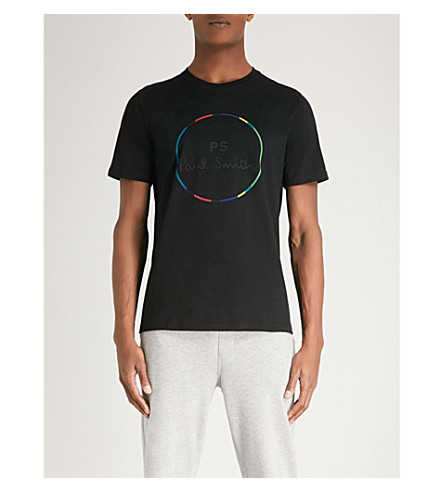 PS BY PAUL SMITH Circle stripe-print cotton-jersey T-shirt (Black
