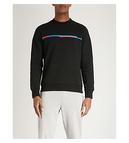 PS BY PAUL SMITH Stripe-embroidered cotton-jersey sweatshirt (Black