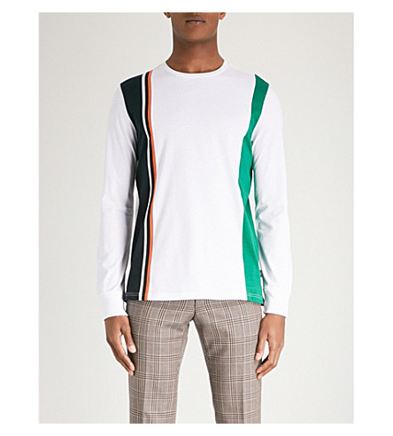 PS BY PAUL SMITH Striped cotton-jersey top (White