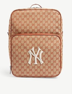 GG Supreme canvas and leather backpack. GUCCI NY Yankees logo-print canvas  backpack 9047c63c65fc7