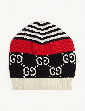 68dd1a08d21 GUCCI Logo-intarsia cotton-knit beanie