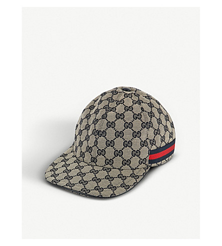 GUCCI GG Web stripe baseball cap (Beige+blue