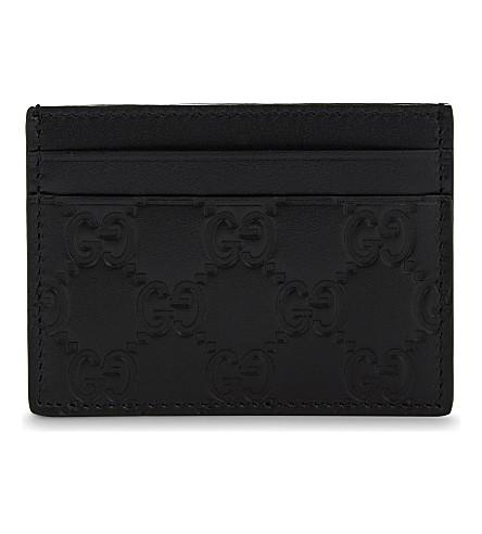GUCCI Mistral leather card holder (Black
