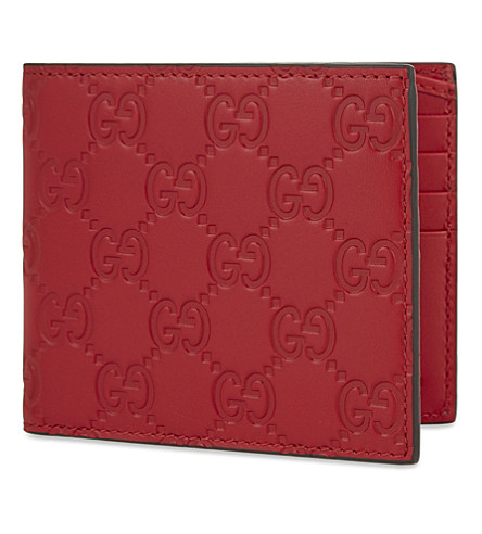 GUCCI Leather embossed billfold (Hibis+red