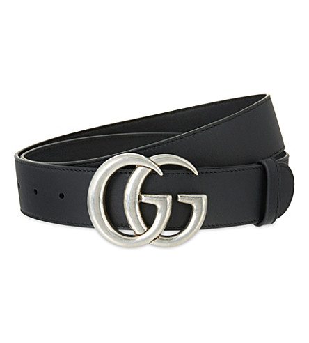 GUCCI GG buckle leather belt (Black