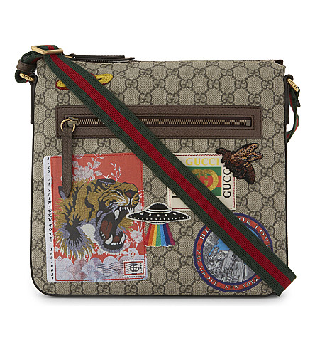 GUCCI Canvas stickers messenger bag (Beige