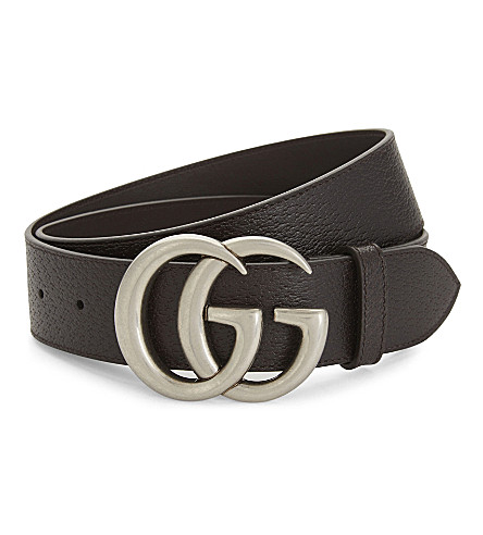 GUCCI GG leather belt (Brown+silver