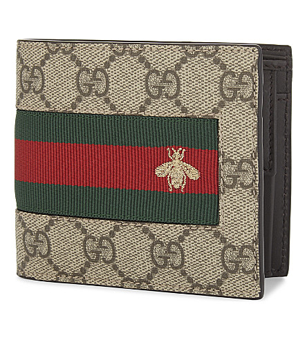 GUCCI GG Supreme canvas and leather bee motif billfold wallet (Beige